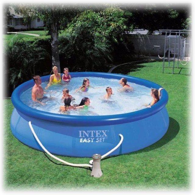 e19f25ae1c4c2 Надувной бассейн Intex 56414 Easy Set Pool, размер 457 х 91 см в комплекте:  (картриджный насос фильтр 3028 л/ч, скиммер, комплект для чистки бассейна,  ...